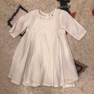Old Navy White Dress w/ Shiny Dash Pattern 2T